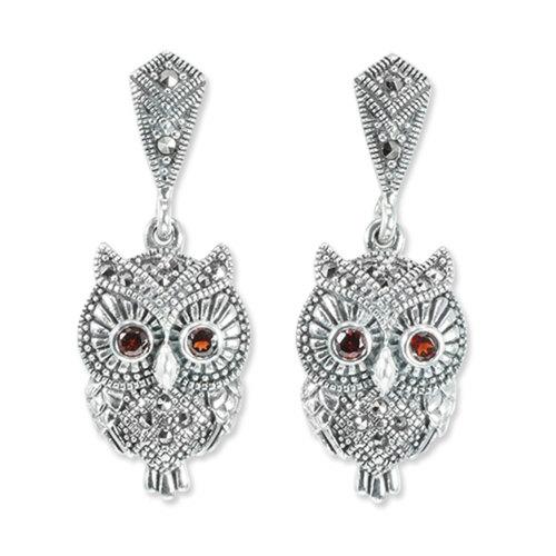 Owl Earrings Eyes Pink Opal