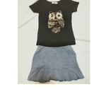 Owl Sequin Embroided T-shirt *Black
