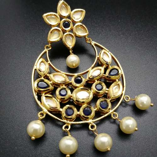 Kundan and Navy Blue Traditional Chandbali Earrings