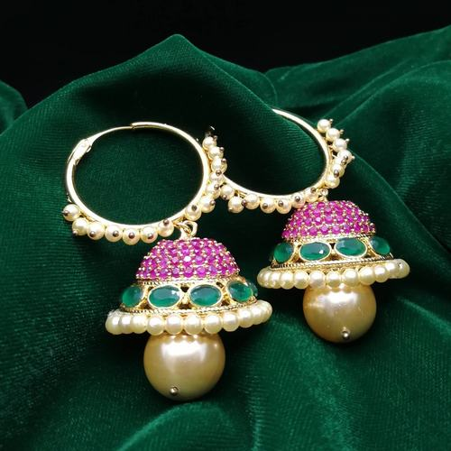 Ruby Red and Emerald Jhumkis