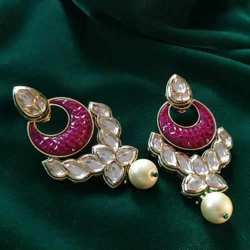 Crystal Shine Ruby Red Kundan Drop Earrings