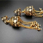 Kundan Engraved Temple Jhumki With Pearl Hanging