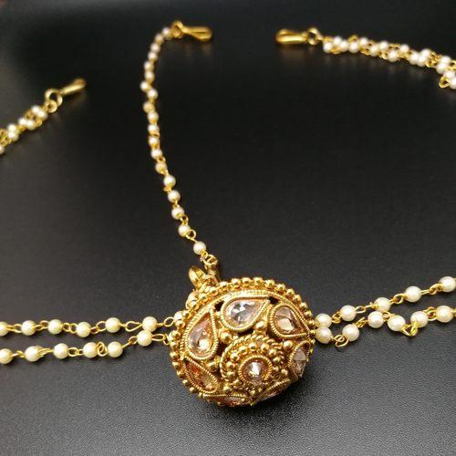 Rajasthani Polki And Pearl Borla/Mang Tikka