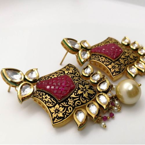 Pure Kundan Ruby Red Stone Cut Earrings