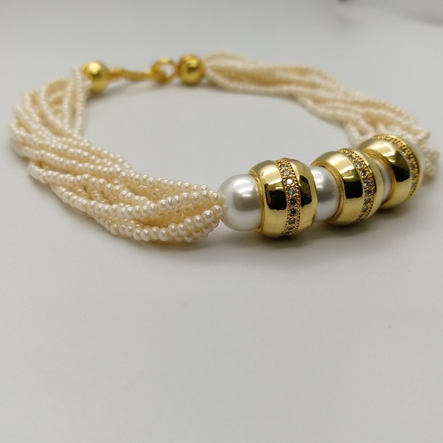 White and Gold Pearls Embellished Bracelet