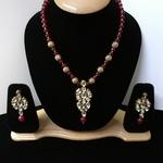 Kubdan With Meenakari And Ruby Beads Necklace Set