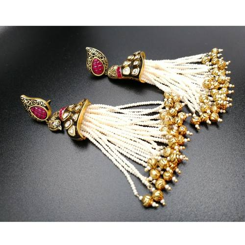 Kundan And Pearl Peacock Earrings