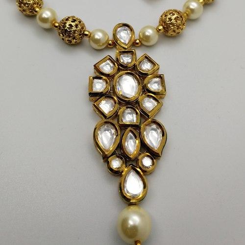 Kundan With Meenakari And White Pearls Necklace Set