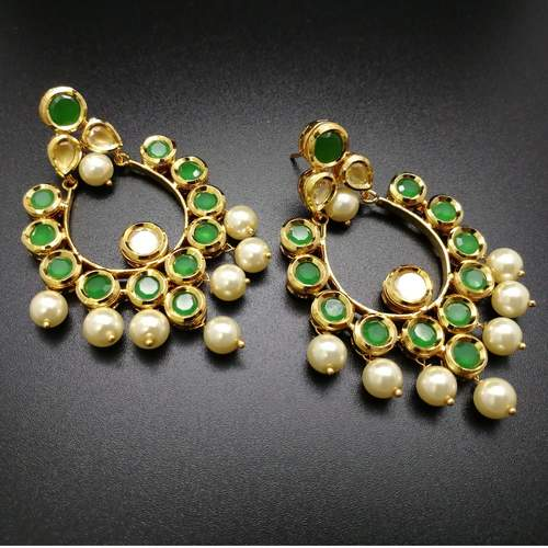 Emerald Kundan Pearl Earrings
