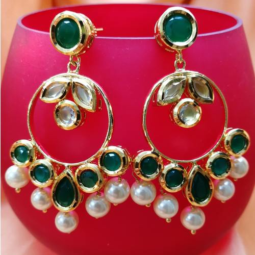 Emerald Kundan With Pearl Earrings