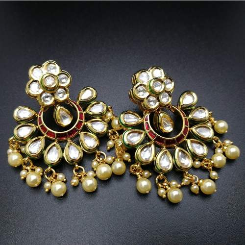 Kundan pearl Tassels earrings