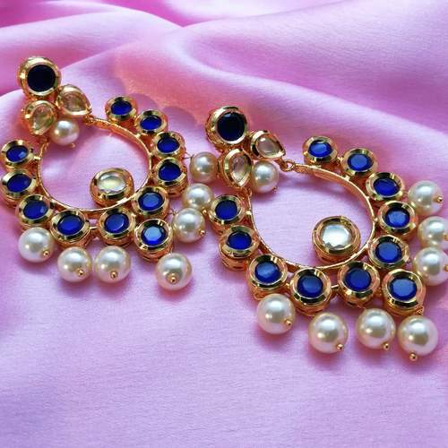 Blue Kundan Pearl Earrings
