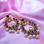Blue Kundan Pearl Earrings