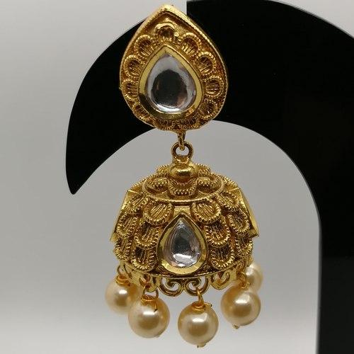 Designer Pearl Studded Jhumki Earrings For Women