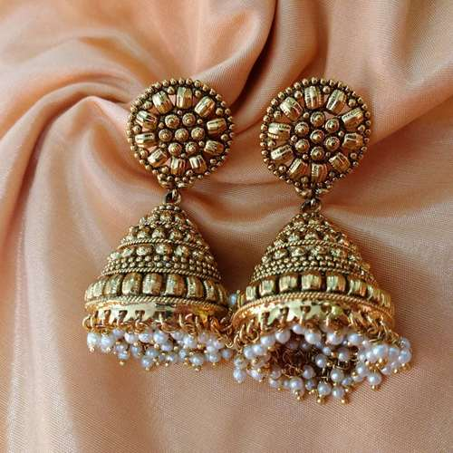 Golden Jhumki With Pearls