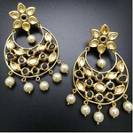 Kundan and Navy Blue Traditional Chandbali Earrings