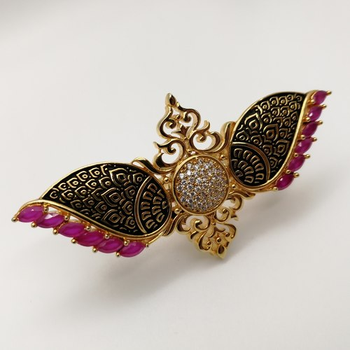 Long Filigree Wing Ring