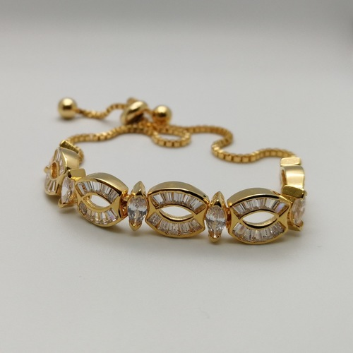Diamond Cut Stone Bracelet With Adjustable Chain Drop