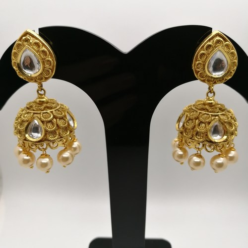 Designer Pearl Studded Jhumki Earrings For Women