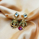 Kundan Jhumki With Ruby Red Dropping