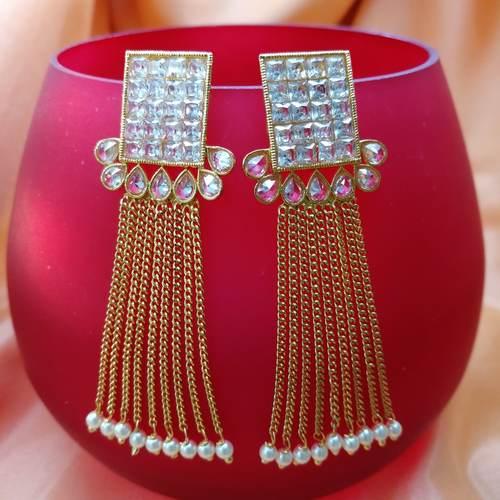 Tassel Stone cut Pearl Earring