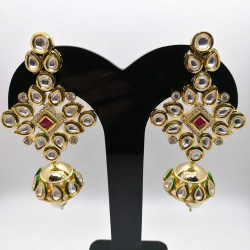 Pure Kundan Jhumki Drop Earring