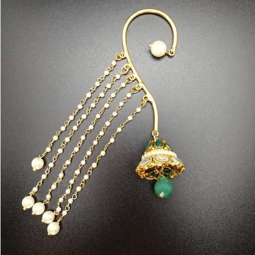 Ear-Cuffs Green Kundan Jhumki