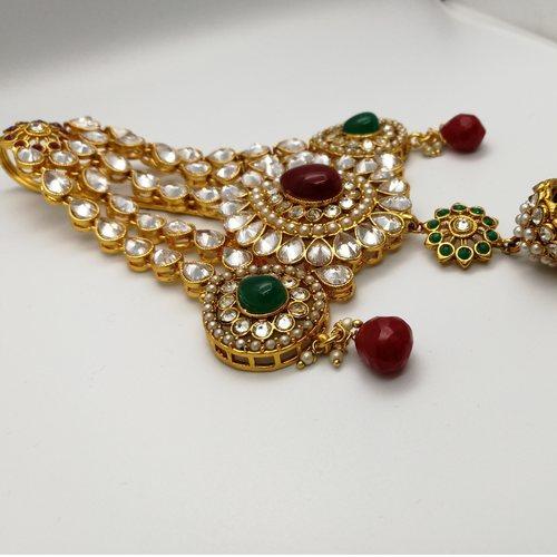 Gold Plated Kundan Passa With Multicolored Stones.