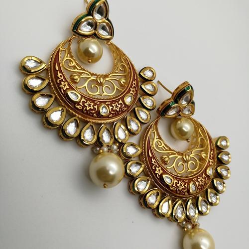 Heavily Embellished Chandbali Earrings