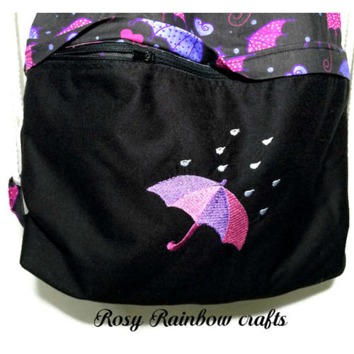 Exclusive Limited Edition Handmade Embroidered Drawstrings Backpack Raining Umbrella