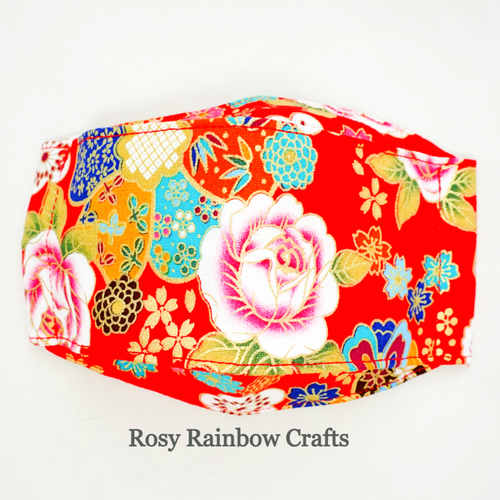 Exclusive Handmade 3D OrigamiBoat Masks Chinese Red Florals Medium PLUS 10 - 12 years old