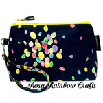 Exclusive Handmade Multi Purpose Pouch Case Wristlet In Medium Jelly Beans Series - Yellow Accents