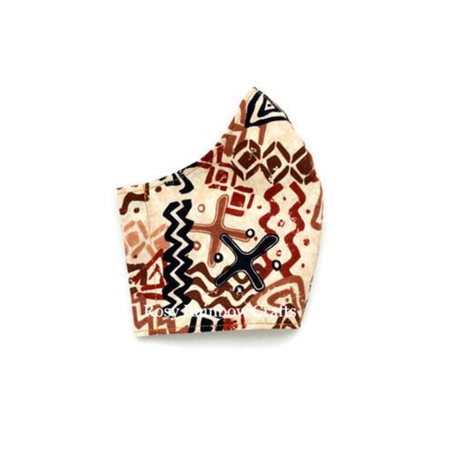 Exclusive Handmade Kids Masks Doodles Batik Brown 3-6 years old