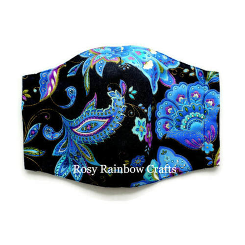 Exclusive Handmade 3D Seamless Masks Blue Paisley Florals In Black Large YouthWomenAdults