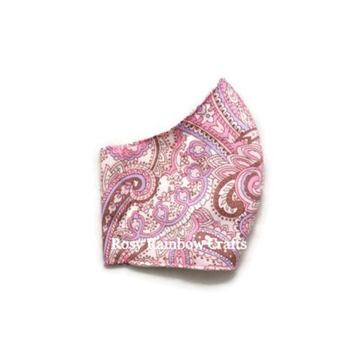 Exclusive Handmade 3D Original Masks Pastel Paisley Soft Pink L - WomenTeens