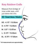 Exclusive Handmade 3D Seamless Masks Playful Unicorns Light Grey S 4-7 years old