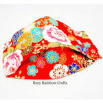 Exclusive Handmade 3D OrigamiBoat Masks Chinese Red Florals Large YouthWomen