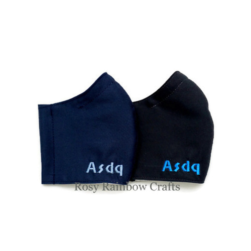 Exclusive Custom Embroidery Made to Order Initials Handmade Masks Solid Colors WomenTeenagers