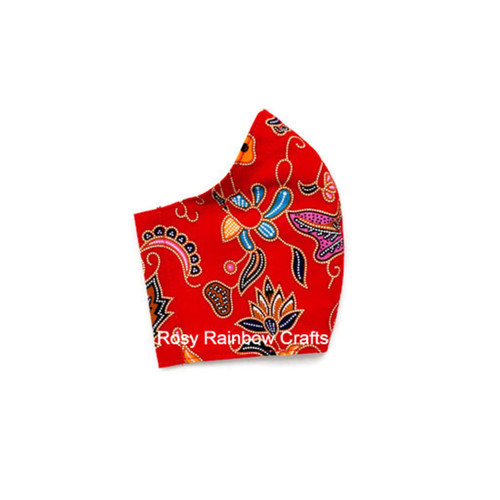 Exclusive Handmade Masks Inspired SQ Airlines Batik Fire Red WomenTeenagers
