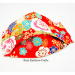 Exclusive Handmade 3D OrigamiBoat Masks Chinese Red Florals Extra Small 1 - 3 years old