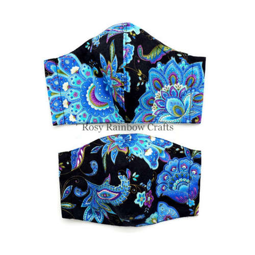 Exclusive Handmade 3D Original Masks Blue Paisley Florals In Black L - TeensWomenAdults