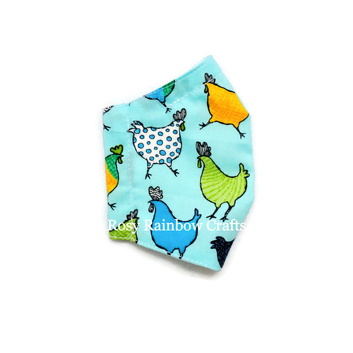 Exclusive Handmade Seamless Masks Happy Chicken Soft Turqouise S 4-7 years old