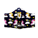 Exclusive Handmade 3D Original Masks Playful Unicorns in Navy Blue 3 - 6 years old