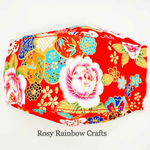 Exclusive Handmade 3D OrigamiBoat Masks Chinese Red Florals  Extra Large Men