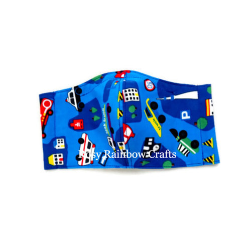 Exclusive Handmade Kids Mask Vehicles Blue 3-6 years old