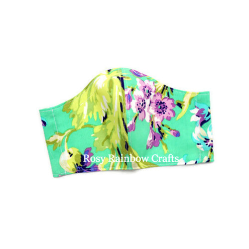 Exclusive Handmade Masks Floral Purple Turqouise