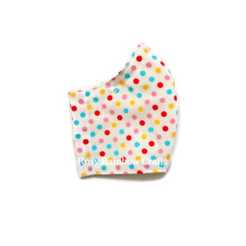 Exclusive Handmade Kids Masks Rainbow Polka Dots 7-12 years old