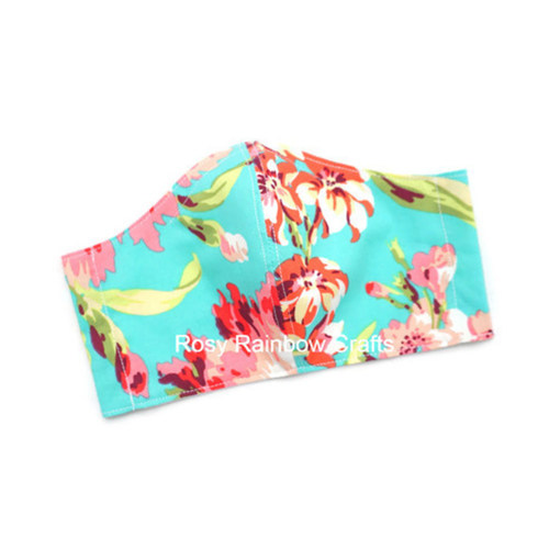 Exclusive Handmade Masks Floral Turqouise WomenTeenagers