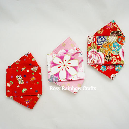 Exclusive Handmade 3D OrigamiBoat Masks Chinese Pink Florals Small 4 - 6 years old