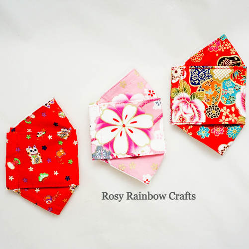 Exclusive Handmade 3D OrigamiBoat Masks Chinese Pink Florals Large YouthWomen
